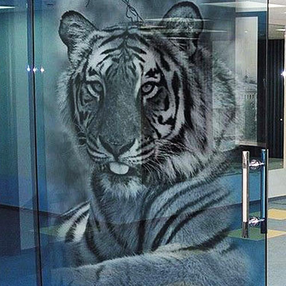 фотопечать на стекле с моим рисунком лев боях